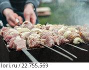 Купить «Мужчина жарит шашлык из мяса с луком на углях», эксклюзивное фото № 22755569, снято 1 мая 2016 г. (c) Игорь Низов / Фотобанк Лори