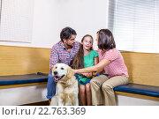 Купить «Family waiting on vet waiting room with their dog», фото № 22763369, снято 17 января 2016 г. (c) Wavebreak Media / Фотобанк Лори