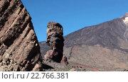 Купить «Stairway is in rock for visitors walking a famous rock formations the Roque Cinchado in Teide National Park. Roques Garcia, Tenerife, Canary islands, Spain», видеоролик № 22766381, снято 18 февраля 2016 г. (c) Кекяляйнен Андрей / Фотобанк Лори