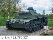 Купить «PzKpfw III Ausf.C редкий средний немецкий танк времен великой отечественной войны», фото № 22785521, снято 3 мая 2016 г. (c) Никита Ковалёв / Фотобанк Лори