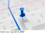 close up of map or city plan with pin. Стоковое фото, фотограф Syda Productions / Фотобанк Лори