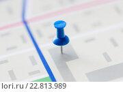 Купить «close up of map or city plan with pin», фото № 22813989, снято 22 марта 2016 г. (c) Syda Productions / Фотобанк Лори