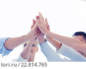 Купить «happy business team giving high five in office», фото № 22814765, снято 9 июня 2013 г. (c) Syda Productions / Фотобанк Лори