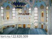 Купить «Интерьер соборной мечети Кул-Шариф. Казанский кремль», фото № 22820309, снято 30 апреля 2016 г. (c) Виктор Карасев / Фотобанк Лори