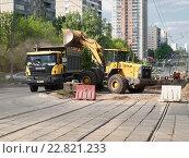 Ремонтные работы по замене трамвайных путей в Москве (2016 год). Редакционное фото, фотограф Vadim Polishchuk / Фотобанк Лори