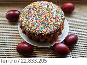 Купить «Пасхальный кулич и крашеные яйца», эксклюзивное фото № 22833205, снято 1 мая 2016 г. (c) Игорь Низов / Фотобанк Лори