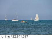 Парусные лодки в Лигурийском море недалеко от Виареджо, Италия. Стоковое фото, фотограф Николай Кокарев / Фотобанк Лори