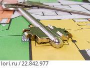 Купить «Ключи и чертеж нового жилого дома», фото № 22842977, снято 24 апреля 2016 г. (c) Сергеев Валерий / Фотобанк Лори
