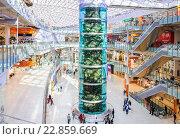 Самый высокий цилиндрический аквариум в мире в ТЦ «Авиапарк» в Москве (2016 год). Редакционное фото, фотограф Алёшина Оксана / Фотобанк Лори