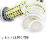 Светодиодная и энергосберегающая лампы. Стоковое фото, фотограф Ольга Еремина / Фотобанк Лори