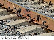 Купить «Стык рельсов», фото № 22903401, снято 21 января 2014 г. (c) Сергей Трофименко / Фотобанк Лори