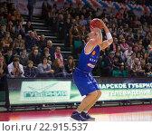 """Купить «Баскетбол. БК """"Нептунас"""", Мартинас Мажейка (7) делает бросок», фото № 22915537, снято 9 ноября 2013 г. (c) Pavel Shchegolev / Фотобанк Лори"""