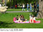 Отдыхающие в теплый весенний день в Парке Искусств Музеон в Москве, эксклюзивное фото № 22939441, снято 8 мая 2016 г. (c) lana1501 / Фотобанк Лори