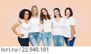 Купить «group of happy different women in white t-shirts», фото № 22940181, снято 17 апреля 2016 г. (c) Syda Productions / Фотобанк Лори