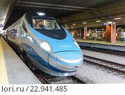 Купить «Скоростной междугородный поезд у перрона железнодорожного вокзала в Кракове», фото № 22941485, снято 3 января 2015 г. (c) Наталья Волкова / Фотобанк Лори