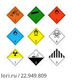 ADR - обозначение опасных грузов. международная маркировка. Стоковая иллюстрация, иллюстратор М Б / Фотобанк Лори