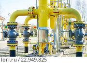 Купить «industrial gas distribution station», фото № 22949825, снято 26 декабря 2015 г. (c) Дмитрий Калиновский / Фотобанк Лори