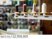 Купить «Reels of threads in sewing shop», фото № 22958905, снято 19 апреля 2019 г. (c) Яков Филимонов / Фотобанк Лори