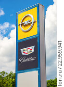 Дилерские знаки автомобильных марок Cadillac и Opel на фоне неба, фото № 22959941, снято 24 мая 2016 г. (c) FotograFF / Фотобанк Лори