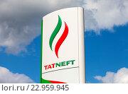 Рекламный знак нефтяной компании Татнефть на фоне неба, фото № 22959945, снято 24 мая 2016 г. (c) FotograFF / Фотобанк Лори