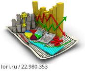 Купить «Изменения цен на рынке недвижимости. Бизнес натюрморт», иллюстрация № 22980353 (c) WalDeMarus / Фотобанк Лори