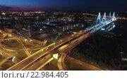Кольцевая автодорога перед Большим Обуховским (вантовым) мостом в ночное время. Санкт-Петербург (2016 год). Стоковое видео, видеограф Кекяляйнен Андрей / Фотобанк Лори