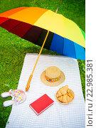 Купить «Зонт, книги, шляпа, обувь и круассаны на траве», фото № 22985381, снято 11 июля 2015 г. (c) Elena Molodavkina / Фотобанк Лори