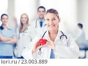 Купить «female doctor with heart», фото № 23003889, снято 18 мая 2013 г. (c) Syda Productions / Фотобанк Лори