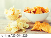 Купить «close up of potato crisps and nachos in glass bowl», фото № 23004229, снято 22 мая 2015 г. (c) Syda Productions / Фотобанк Лори