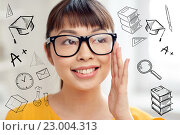 Купить «happy asian young woman in glasses at home», фото № 23004313, снято 9 марта 2016 г. (c) Syda Productions / Фотобанк Лори