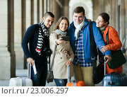 Купить «Group of friends shooting mutual portrait on cell phone», фото № 23006297, снято 23 января 2019 г. (c) Яков Филимонов / Фотобанк Лори