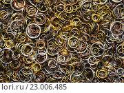 Купить «Металлические кольца крупным планом», фото № 23006485, снято 23 ноября 2015 г. (c) Стивен Жингель / Фотобанк Лори