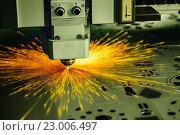 Купить «CNC Laser cutting of metal, modern industrial technology.», фото № 23006497, снято 25 мая 2016 г. (c) Андрей Армягов / Фотобанк Лори