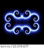 Купить «Синий неоновый узор. Неоновый градиент на черном фоне. Синяя неоновая линия, орнамент, рамка», иллюстрация № 23019677 (c) Dmitry Domashenko / Фотобанк Лори