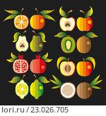 Набор фруктов. Стоковая иллюстрация, иллюстратор Евгения Миллер / Фотобанк Лори
