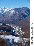 Купить «Ski resort Rosa Khutor. Mountains of Krasnaya Polyana. Sochi, Russia», фото № 23028721, снято 10 февраля 2016 г. (c) Сергей Лаврентьев / Фотобанк Лори