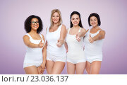 Купить «group of happy different women showing thumbs up», фото № 23036137, снято 17 апреля 2016 г. (c) Syda Productions / Фотобанк Лори