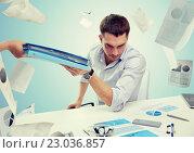 Купить «businessman taking papers from secretary», фото № 23036857, снято 18 июня 2015 г. (c) Syda Productions / Фотобанк Лори