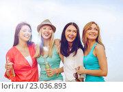 Купить «girls with drinks on the beach», фото № 23036893, снято 4 июля 2013 г. (c) Syda Productions / Фотобанк Лори