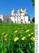 Купить «St. Sophia cathedral in Veliky Novgorod, Russia at summer sunny day», фото № 23042593, снято 3 июня 2016 г. (c) Зезелина Марина / Фотобанк Лори