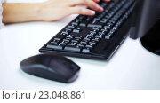 Купить «woman hands typing on computer keyboard at office», видеоролик № 23048861, снято 18 марта 2016 г. (c) Syda Productions / Фотобанк Лори