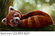 Красная панда. Стоковая иллюстрация, иллюстратор Елена Саморядова / Фотобанк Лори