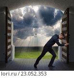 Купить «Businessman has found exit, concept», фото № 23052353, снято 11 мая 2016 г. (c) Владимир Мельников / Фотобанк Лори