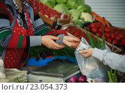 Купить «Женщина покупает овощи на рынке», фото № 23054373, снято 5 июня 2016 г. (c) Константин Колосов / Фотобанк Лори