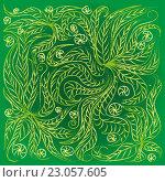 Зеленый фон с растительным узором. Стоковая иллюстрация, иллюстратор Евгения Миллер / Фотобанк Лори