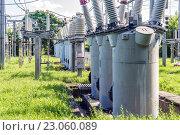Советская электрическая подстанция, 110 кв. Стоковое фото, фотограф Станислав Илюк / Фотобанк Лори