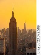 Empire state building, небоскрёбы в Нью-Йорке, фото № 23072589, снято 27 августа 2014 г. (c) Виталий Поздеев / Фотобанк Лори