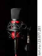 Купить «Красный микрофон», фото № 23077281, снято 25 ноября 2015 г. (c) Стивен Жингель / Фотобанк Лори
