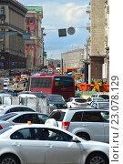 Купить «Огромная пробка на Тверской улице в Москве», эксклюзивное фото № 23078129, снято 10 июня 2016 г. (c) lana1501 / Фотобанк Лори