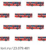 Бесшовный фон из красных автобусов. Стоковая иллюстрация, иллюстратор Алексей Плескач / Фотобанк Лори